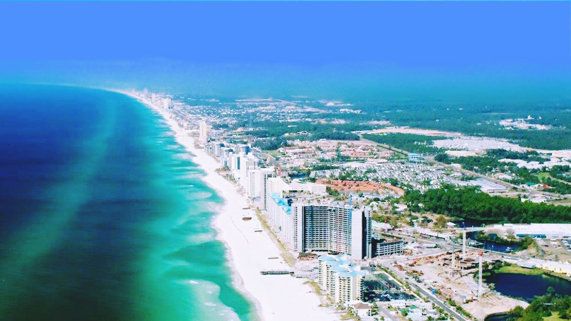 Ariel view of Panama City Beach looking West.